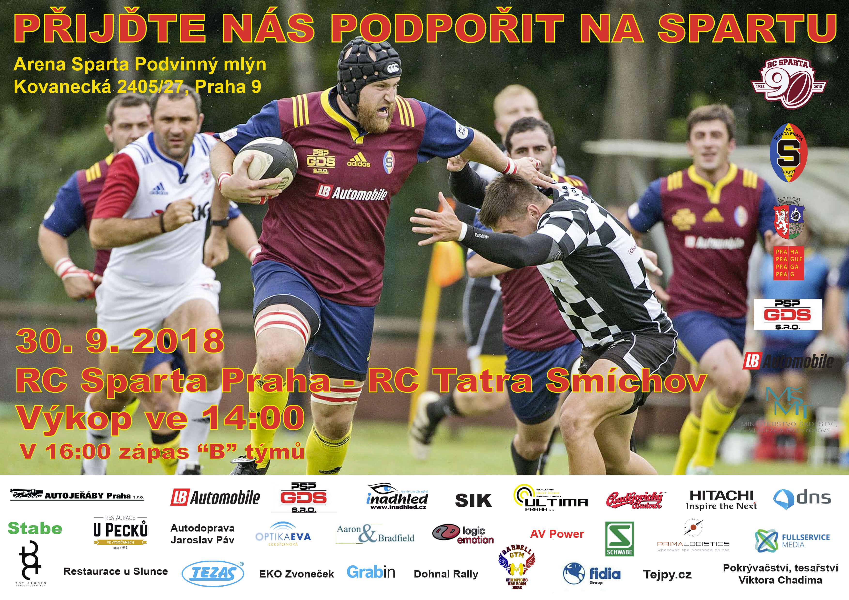 Pozvánka na zápas RC Sparta Praha vs. RC Tatra Smíchov